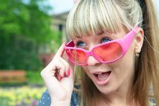 Free Beauty Wonder Blonde Girl In Pink Glass Stock Image - 5521101
