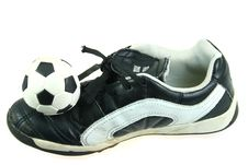 Free Kids Soccer Footwear And Ball Stock Image - 5521861