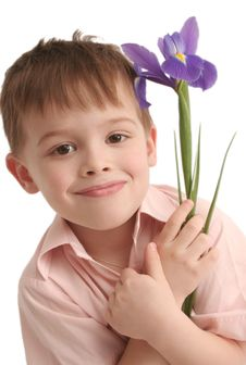 Free The Nice Boy A Flower In Hands Stock Image - 5522371