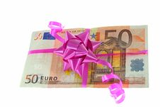 Free Money With Ribbon On White Background Stock Photo - 5522450