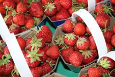 Strawberries In Baskets Royalty Free Stock Images