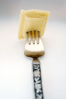 Fork With Ravioli Stock Photos