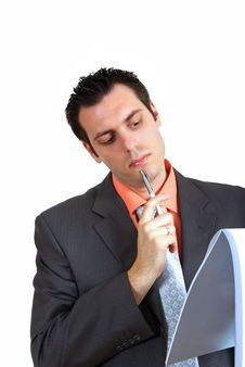 Free Young Businessman Thinking Stock Photos - 5523423