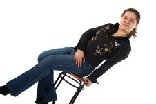 Free Girl Sits On Stool Royalty Free Stock Photos - 5523498
