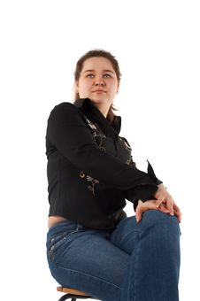Free Girl Sits On Stool Stock Photography - 5523502