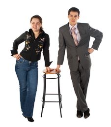 Free Girl With Young Man At Stool Stock Photography - 5523562