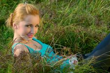 Free Girl In A Meadow Stock Image - 5525471