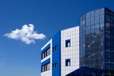 Blue And White Modern Building Stock Photos