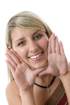 Free Beautiful Young Woman Framing Face With Hands. Royalty Free Stock Photography - 5526357