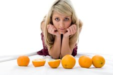 Free Beautiful Girl Thinks Of Oranges Stock Images - 5526464