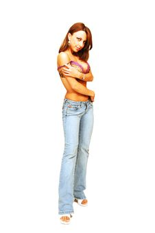 Free Standing Woman In Jeans And Bra. Royalty Free Stock Image - 5526706