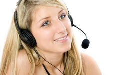 Beautiful Business Woman With Headset. Stock Photography