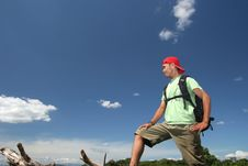 Free Hiking Man With Backpacking Stock Photo - 5527590