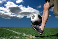 Soccer Player Juggling Stock Photo