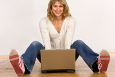 Free Beautiful Young Woman With Laptop Stock Photos - 5530503