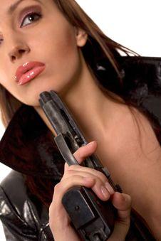 Free Woman With Black Gun Stock Photos - 5530853