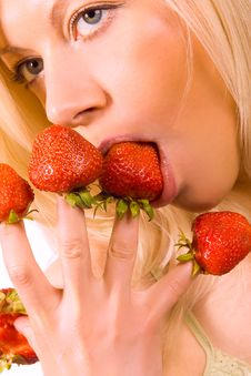 Free Sexy Girl With Red Strawberry Isolated On White Royalty Free Stock Images - 5531119