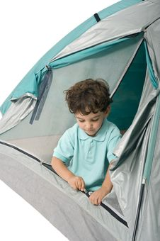 Free Young Boy In A Tent Stock Image - 5531851