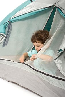 Young Boy In A Tent Royalty Free Stock Photo