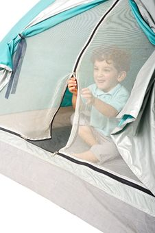 Free Young Boy In A Tent Stock Image - 5531891