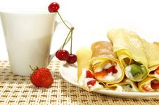 Pancakes Filled, Berries And Cup
