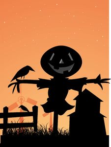 Free Crow Over Scarecrow Royalty Free Stock Photography - 5532727