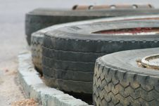 Line Of Tyres Royalty Free Stock Photo
