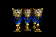 Antique Blue Wine Goblets Stock Image