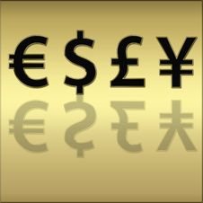 Free Four Different Currencies Signs Stock Images - 5533854