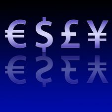 Free Four Different Currencies Signs Royalty Free Stock Photo - 5533855