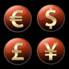 Free Currencies Signs Buttons Stock Image - 5533871