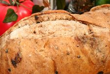 Olive Bread Loaf In Kitchen Stock Photo