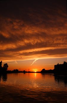 Sunset In Oradea Stock Photo