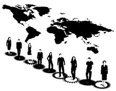 Free Business People, Map And Cogwheels Royalty Free Stock Photos - 5535938