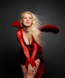 Free Blond Girl Angel In Red Royalty Free Stock Photos - 5536618