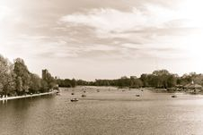 The Serpentine At Hyde Park In Sepia Tone. Stock Photo