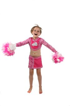 Free Cute Girl Doing A Cheering Routine Stock Photo - 5538000