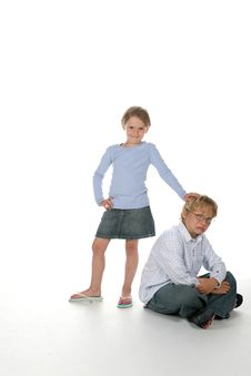 Free Girl Putting Her Hand On Her Brother S Head Stock Image - 5538021