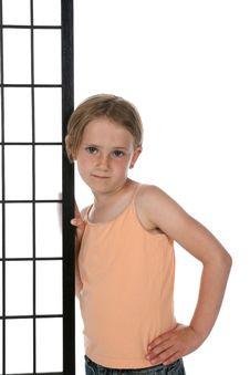 Free Girl In Orange Shirt Royalty Free Stock Image - 5538036