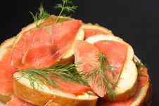 Free Sandwiches With Slices Of A Salmon Stock Photos - 5538993