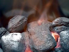 Charcoal - Smoldering In Flames Close Up View Stock Images