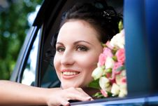 Free Beauty In The Wedding Car Royalty Free Stock Photos - 5539778