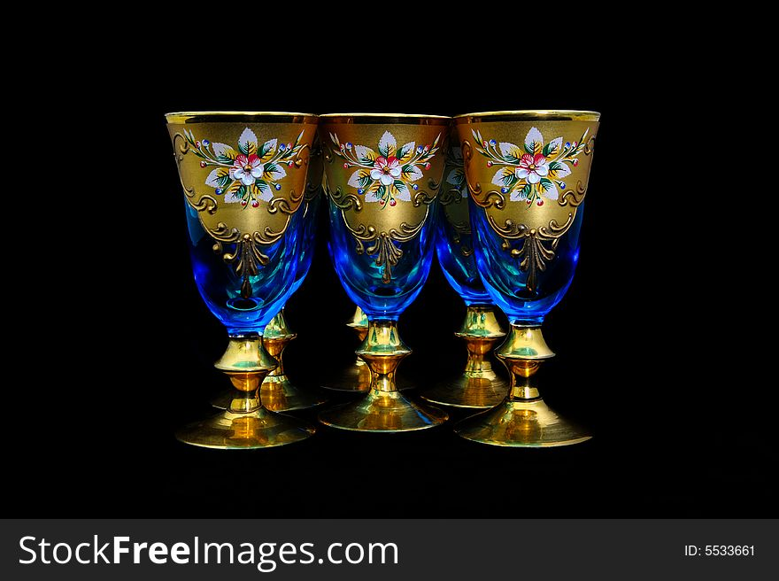 Antique blue wine goblets