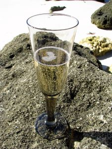 Champagne On The Rocks Stock Photos