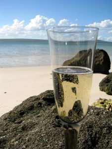 Champagne At Beach Royalty Free Stock Photography