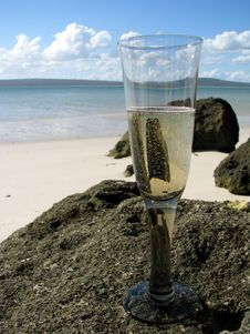 Champagne At Beach Royalty Free Stock Photo
