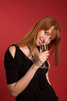 Free Smiling Girl With Champagne Glass Stock Photos - 5542653