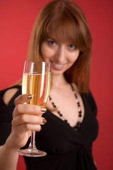 Free Girl With Champagne, Focus On Glass Stock Image - 5542721
