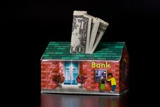 Free Dollar Bills And Cardboard Bank Box Stock Photos - 5543573