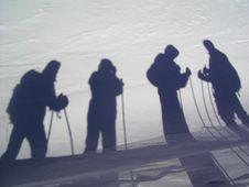 Shadows On A Snow Stock Photo